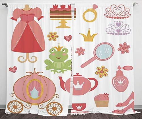 Satin Window Drapes Curtains [ Kids Decor,Princess Tiara Tea Party Mirror Teapot Tea Party Frog Crown Fairy Cupcake Girls Decorative, ] Window Curtain Window Drapes for Living Room Bedroom Dorm Room C - Hello Princess Kitty Mirror
