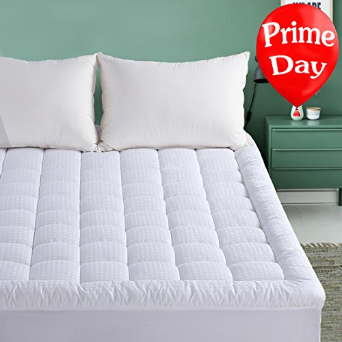 Mattress Cover Pad (Queen Mattress Pad - Pillow Top Fitted Mattress Pad Cover (Deep Pocket 8