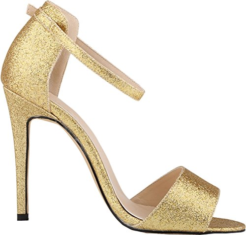 Salabobo - Zapatos con tacón mujer Gitter-Gold