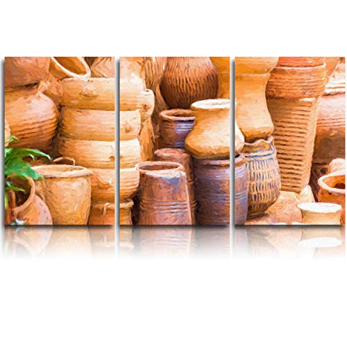 (JEANCZ Canvas Wall Art for Home Decor Street Pottery Shop Oil Painting Modern Decoration Print on Canvas Ready to Hang 24x32Inch 3pcs/Set)