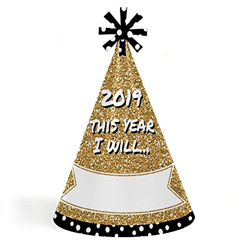 New Top Year Happy Hat (Pop, Fizz, Clink! - Cone 2019 New Year's Eve Resolution Party Hats for Kids and Adults - Set of 8 (Standard Size))