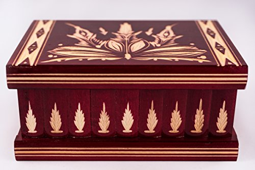 - Handmade Wooden Puzzle Boxes with Hidden Compartment (Large) - Top Quality Elegant Box with Easy Open/Closing Mechanism - Decorative Storage Box for Jewelry, Toys, Puzzles - Great Gift Red