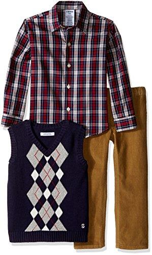 IZOD Kids Little Boys' Toddler 3 Piece Modern Aryglye Sweater Vest Set, Night, (Blue Argyle Sweater Vest)