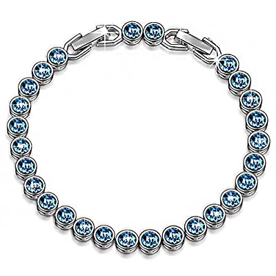 """LADY COLOUR Bracelet """"Ballad for Adeline"""" Blue Tennis Bracelet Made with SWAROVSKI Crystals-[Gift Packing] by LadyColour Jewelry"""