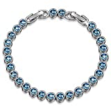 Christmas Gifts Bracelet LadyColour Blue Aquamarine Tennis Bracelet Swarovski Crystals Jewelry for Women Birthday Gifts for Women Teens Girls Wife Mom Grandma Sister Kids Anniversary Gifts for Her