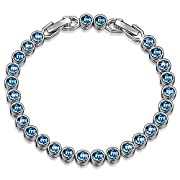 "Amazon Lightning Deal 94% claimed: LadyColour ""Ballad for Adeline"" Aquamarine Tennis Bracelet 7.5"" Made With Swarovski Crystals, Women Fashion Jewelry, great Christmas gifts for girls, teens, women"