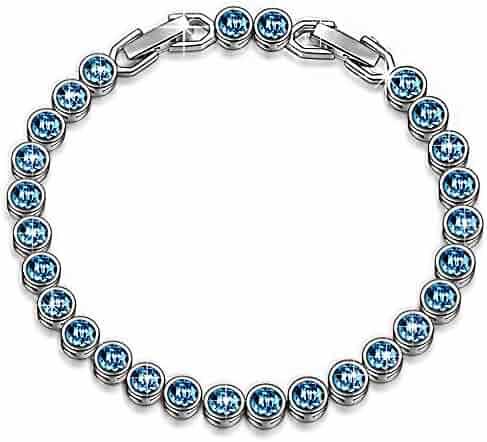 LADY COLOUR Bracelet Ballad for Adeline Blue Tennis Bracelet Made with SWAROVSKI Crystals-[Gift Packing]