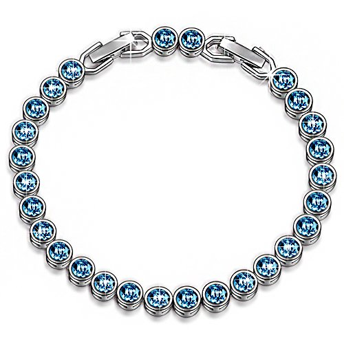 "LadyColour ""Ballad For Adeline"" Blue Tennis Bracelet Made With Swarovski Crystals"