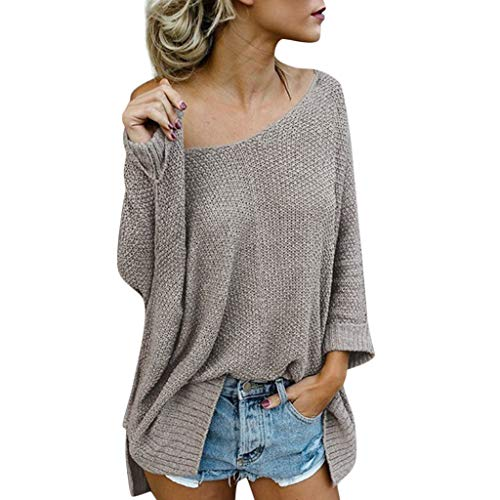 HomeMals Women's Off Shoulder Loose Pullover Sweater Batwing Sleeve Knit Jumper Oversized Tunics Top