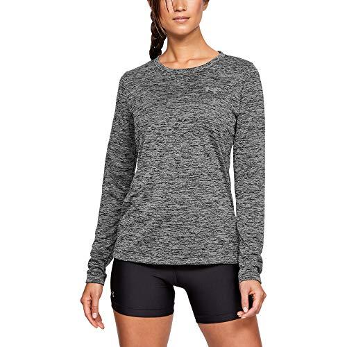 Under Armour Womens Tech Twist Crew Long-Sleeve T-Shirt,  Black /Metallic Silver,  Small