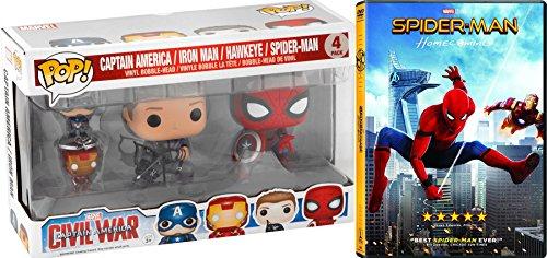 Spider-Man Hawkeye Figure & Homecoming DVD Movie Bundle Funko Bobble-Head & Keychain Multi Pack