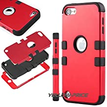 iPod Touch 5 Case, 3 Layer Hard and Soft Hybrid Armor Defender Case Cover for Apple iPod Touch 5 iTouch 5th Generation- Red