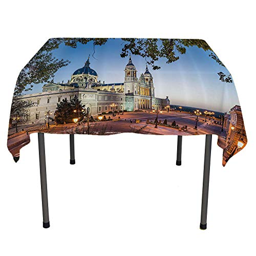 European Cityscape Decor bedside table tablecloth Old Cathedral And Royal Palace in Madrid Mediterrenean Mod City Europe Urban Print table cloth picnic outdoor Spring/Summer/Party/Picnic 70 By 70