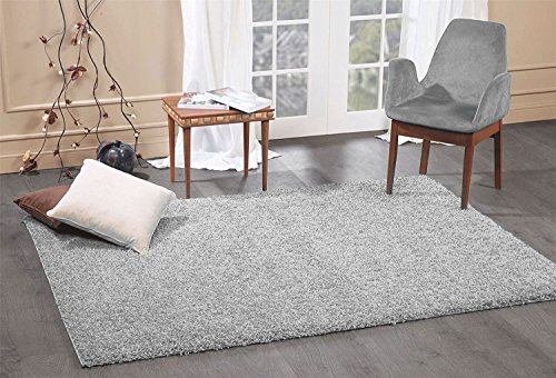 - A2Z Rug Cozy Shaggy Collection 5x8-Feet Solid Area Rug - Cloud Gray