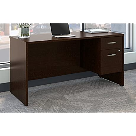 Bush Business Furniture SRC072MRSU Series C 60W X 24D Office Desk With 3 4 Pedestal Mocha Cherry