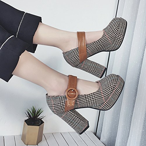GAOLIM Una Zapatilla De Corte Bajo Audaz Y Ultra-Light Con Los Zapatos De Princesa Zapatos Zapatos De Tacón Alto De Taiwán Impermeable Zapatos De Mujer Grid Brown
