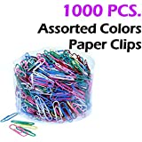 Assorted 1000 Colored Metal Paper Clips, Reusable Plastic Tub With Lid, 6 Vibrant Sharp Colors (28mm). By Mega Stationers