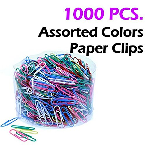 Small Plastic Pastel - Assorted 1000 Colored Metal Paper Clips, Reusable Plastic Tub With Lid, 6 Vibrant Sharp Colors (28mm). By Mega Stationers