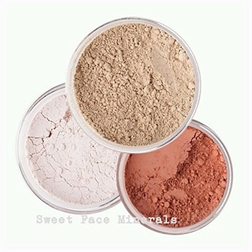 3pc Mineral Makeup KitChoose your Shade Set Bare Skin Sheer Powder Matte Foundation Cover (Warm (most - Set Makeup Mineral Cover Sheer