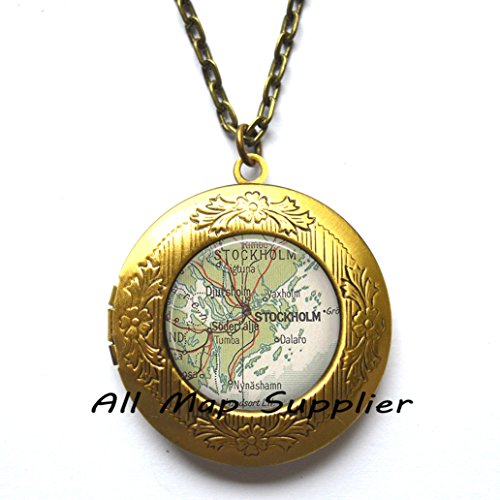 Charming Locket Necklace,Stockholm map Locket Necklace, Stockholm map Locket Pendant, Stockholm Locket Pendant, Stockholm Locket Necklace, map jewelry, map jewellery,AO221