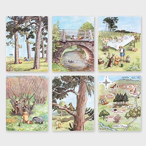(Set of 6) Classic Winnie the Pooh Art (Baby Girls Boys Prints, Nursery Wall Decor)