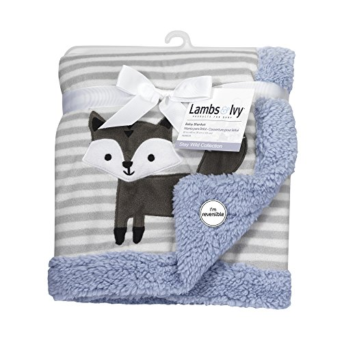 Lambs & Ivy Stay Wild Fox Blanket, Gray/Blue Stripe