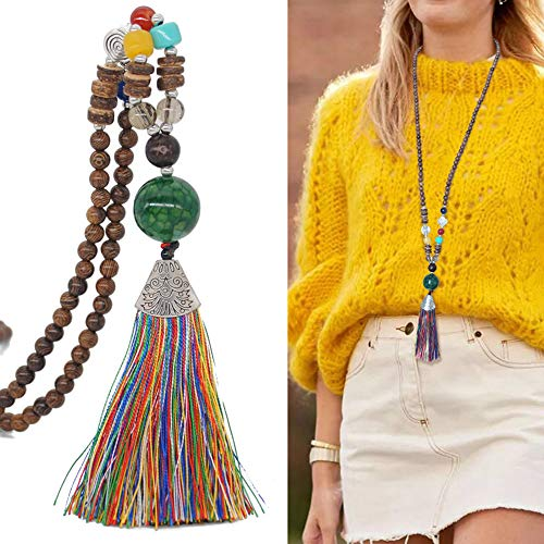 - HoneySheep Fashion Wooden Beads Tassel Pendant Necklace,Handmade Knotted Necklace,Unisex