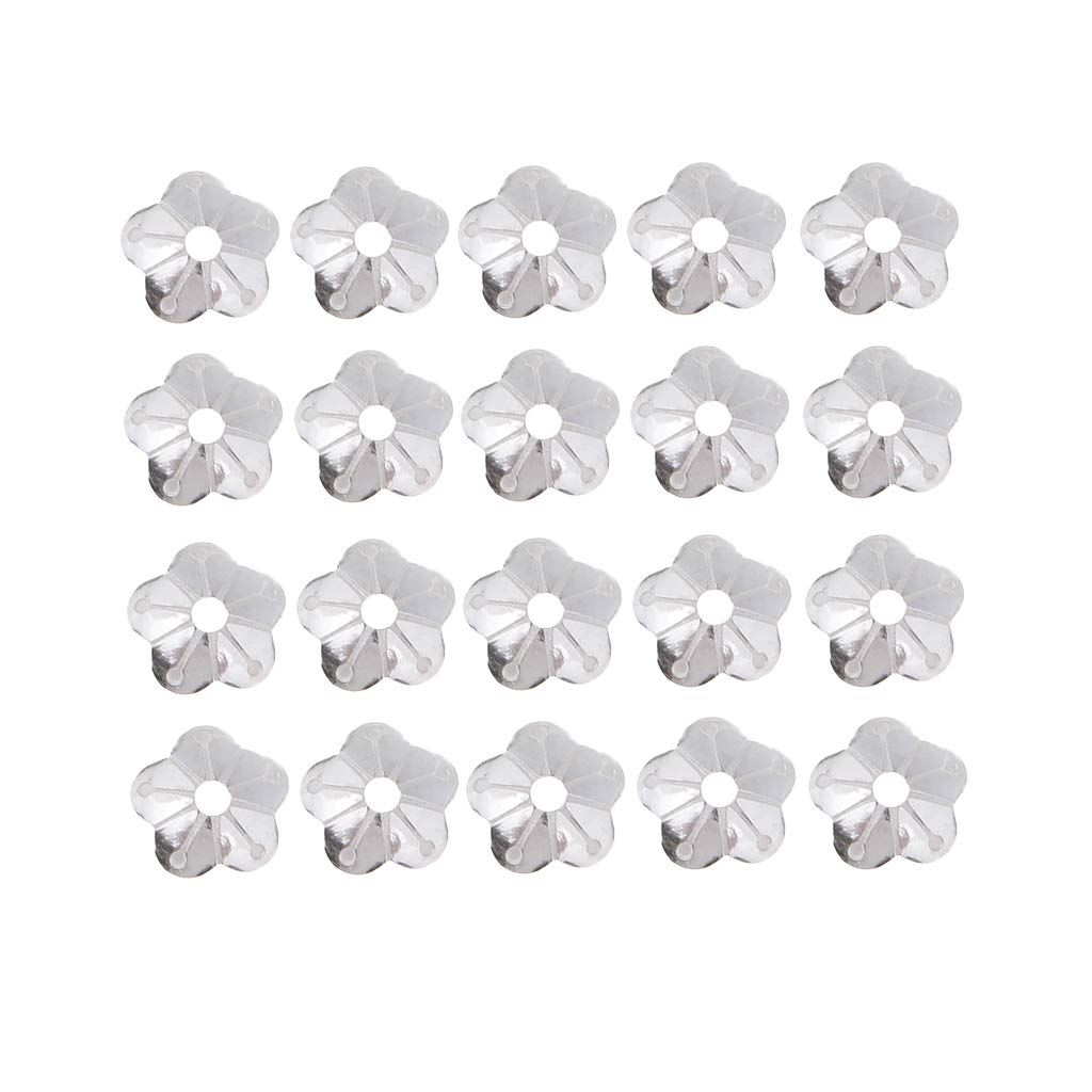 dailymall 20pcs 925 Sterling Silver Flower Beads Caps for DIY Necklace Bracelet 4mm Gold