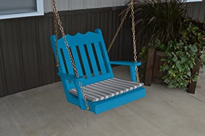 2 Ft Pine Outdoor Royal English Chair Swing Amish Made USA- Caribbean Blue Paint