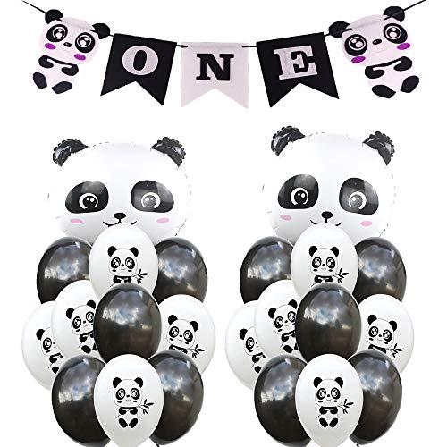 SFSL Panda Birthday Decorations Party Supplies,1th Birthday Banner,Panda Birthday Mylar Balloon,Panda Latex Balloon Decoration Great for Kids Panda Bear Birthday Decorations,Photo Props for $<!--$12.99-->