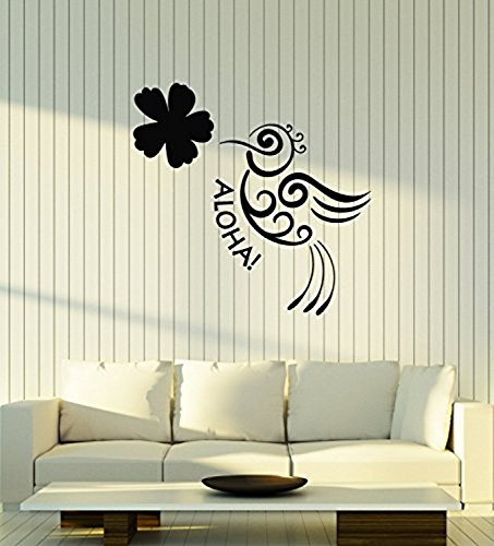 422 Art (Vinyl Wall Decal Aloha Bird Flower Hawaii Hawaiian Room Art Stickers Mural Large Decor 422)