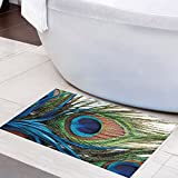 Bathroom Rug Peacocks Feathers Fantastic Beautiful Home Decoration Of Shower Room Blue Green Peacock Feather Pinnae Patio Lawn Garden Doormats Size: 20x31Inch (50x80cm)