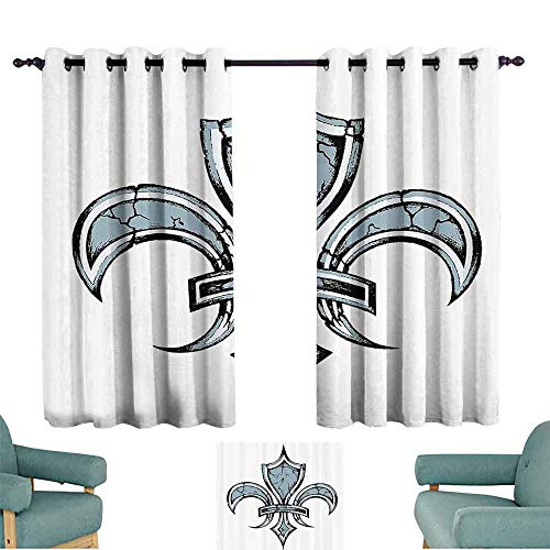 - DILITECK Windshield Curtain Fleur De Lis Grungy Lily Retro Renaissance Spirit Element Victory Vintage Art Print Light Blocking Drapes with Liner W55 xL39 Blue White Black