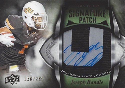 JOSEPH RANDLE 2013 Upper Deck Quantum Football ROOKIE SIGNATURE PATCH (Oklahoma State & Dallas Cowboys) Game Used 2-Color Patch Relic Signed NCAA / NFL Collectible Trading Card #126/265 Quantum Football
