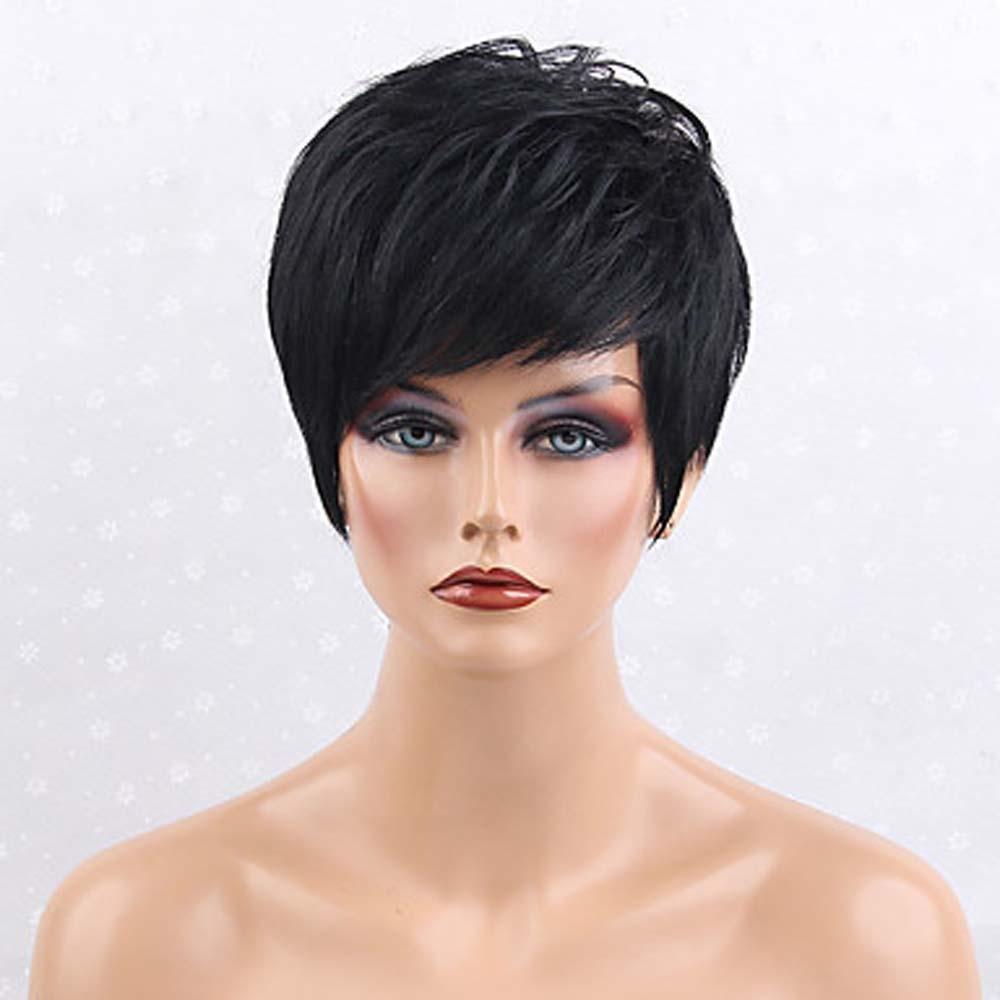 MZP Pelo humano pelucas sin tapa Negro Natural Alta calidad Clásico Corte Recto Diario