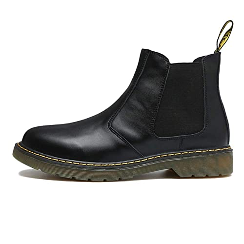 94d052eb457 Chelsea Boots Men Black Leather Oxblood Safety Brogue Classic Martin Boots  Leather Retro Middle Boots Leather