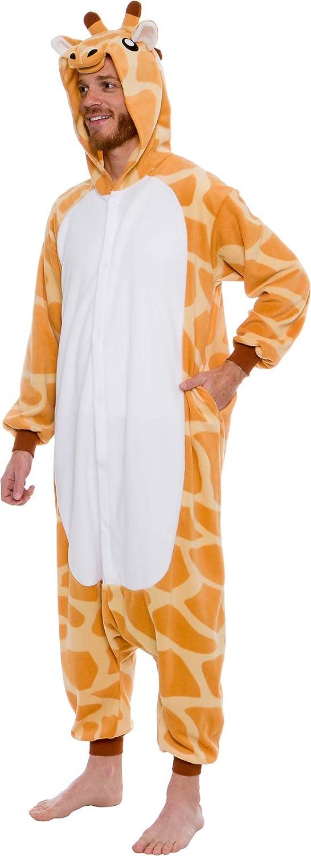 Unisex Adult Plush Cosplay Pajamas Silver Lilly Giraffe One Piece Animal Costume