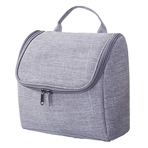 AKAOP Travel Toiletry Bag Hanging Cosmetic Makeup Organizer with Hanging Hook Waterproof Gym Shower Bag for Women & Men Shaving Kit with Multi Compartments, Grey