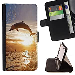 DEVIL CASE - FOR HTC DESIRE 816 - Dolphin So Long Sunset Ocean Animal - Style PU Leather Case Wallet Flip Stand Flap Closure Cover