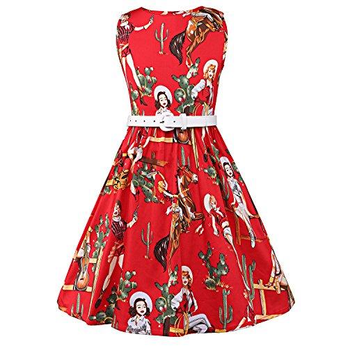 Little Girls Vintage Boat Neck Sleeveless Swing Party Girls Dresses