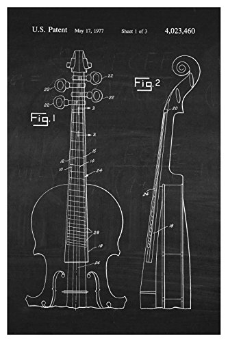 Instrument Family Posters (Cello - White on Chalkboard - Instrument Patents - 16x24 Matte Poster Print Wall Art)