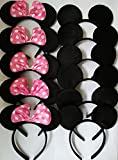 Toys : CHuangQi Mouse Ears Solid Black and Pink Bow Headband for Boys&Girls Birthday Party