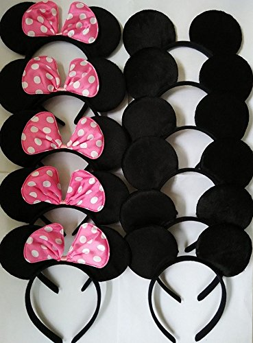 CHuangQi Mouse Ears Solid Black and Pink Bow Headband for Boys&Girls Birthday Party