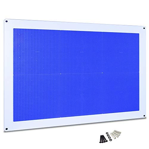 Creative QT Play-Up Wall Panel - Large Building Brick Play Wall - Pre-Assembled - Compatible with All Major Brands of Interlocking Blocks - Vertical Building Surface - Blue - 24 ()