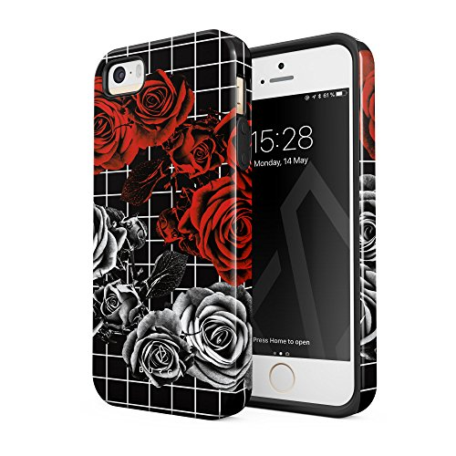 BURGA iPhone 5 iPhone 5s iPhone SE Case Love Bite Red Rose Floral Pattern Heavy Duty Shockproof Dual Layer Hard Shell + Silicone Protective Cover