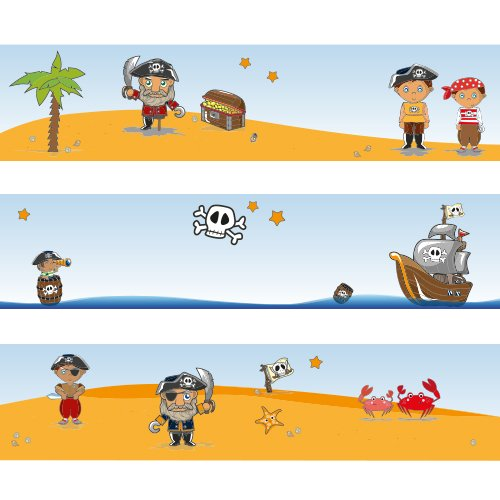 Wandkings border Pirate Treasure Hunt length: 450 cm, self-adhesive, for kid's bedrooms for kid' s bedrooms