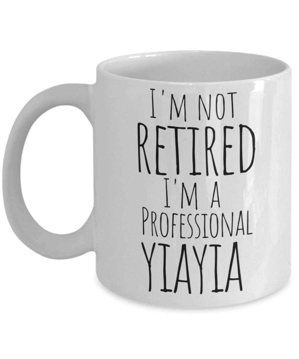 Yiayia Mug for Retired Greek Grandma - Best Mothers Day, Christmas Stocking Stuffer, Birthday or Baby Reveal Gift For a New Grandmother from Grandkids Granddaughter Grandson - 11oz Coffee Tea Cup