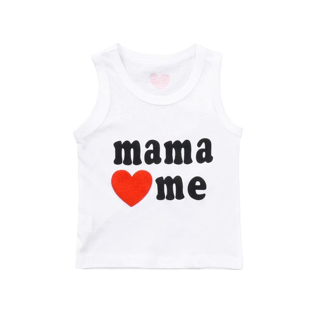 Webla(TM) Toddler Kids Baby Boys Girls Soft Cotton Sleeveless Letter Mama Love Me Print Summer Tops Vest T-Shirt Ages 1-3 Years
