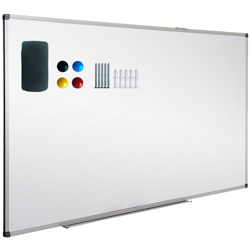 Magnetic Dry Erase Board, Whiteboard, Wall Mounted, 44 x 32 Inch, White Board, Silver Aluminium Framed with Lacquered Steel Surface