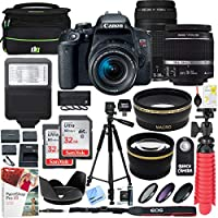 Canon EOS Rebel T7i DSLR Camera with EF-S 18-55mm is STM & 75-300mm Lens + 2X 32GB Ultra SDHC UHS Class 10 Memory Card + Accessory Bundle